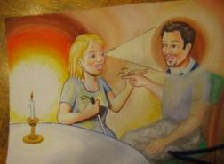 Doofblinde jonge vrouw & jonge man praten in vierhandengebaren (tekening)
